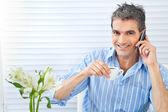Happy Man Receiving Phone Call — Stockfoto