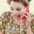 Woman Screaming While Holding Retro Phone — Stock Photo