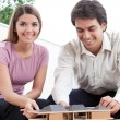 Two Architects Building a House Model — Stock Photo
