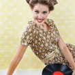 Retro Style Woman With Vinyl Records — Stock Photo
