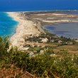 The town of Lefkada and Gyra beach as seen from a distance - Stock Photo