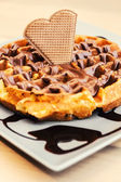 Waffle dessert with chocolate and hazelnut cream — Stock Photo