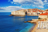 Dubrovnik beach at sunrise — Stock Photo
