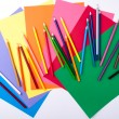 Colored pencil and paper — Stock Photo