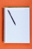 Sheet of blank notebook and pen — Stock Photo