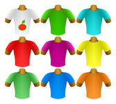 Multicolored T-shirts in a set — Stock Vector