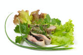Picture of herring fillet on the plate — Stock Photo