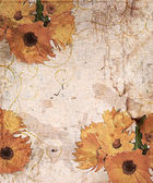 Old postcard with orange flower ,design in grunge — Stock Photo