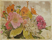 Old postcard with flowers ,design in grunge — 图库照片
