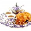 Metal set for tea and croissant - Stock Photo