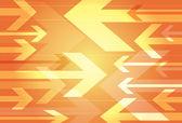 Dynamic orange background of opposing arrows — Stock Vector