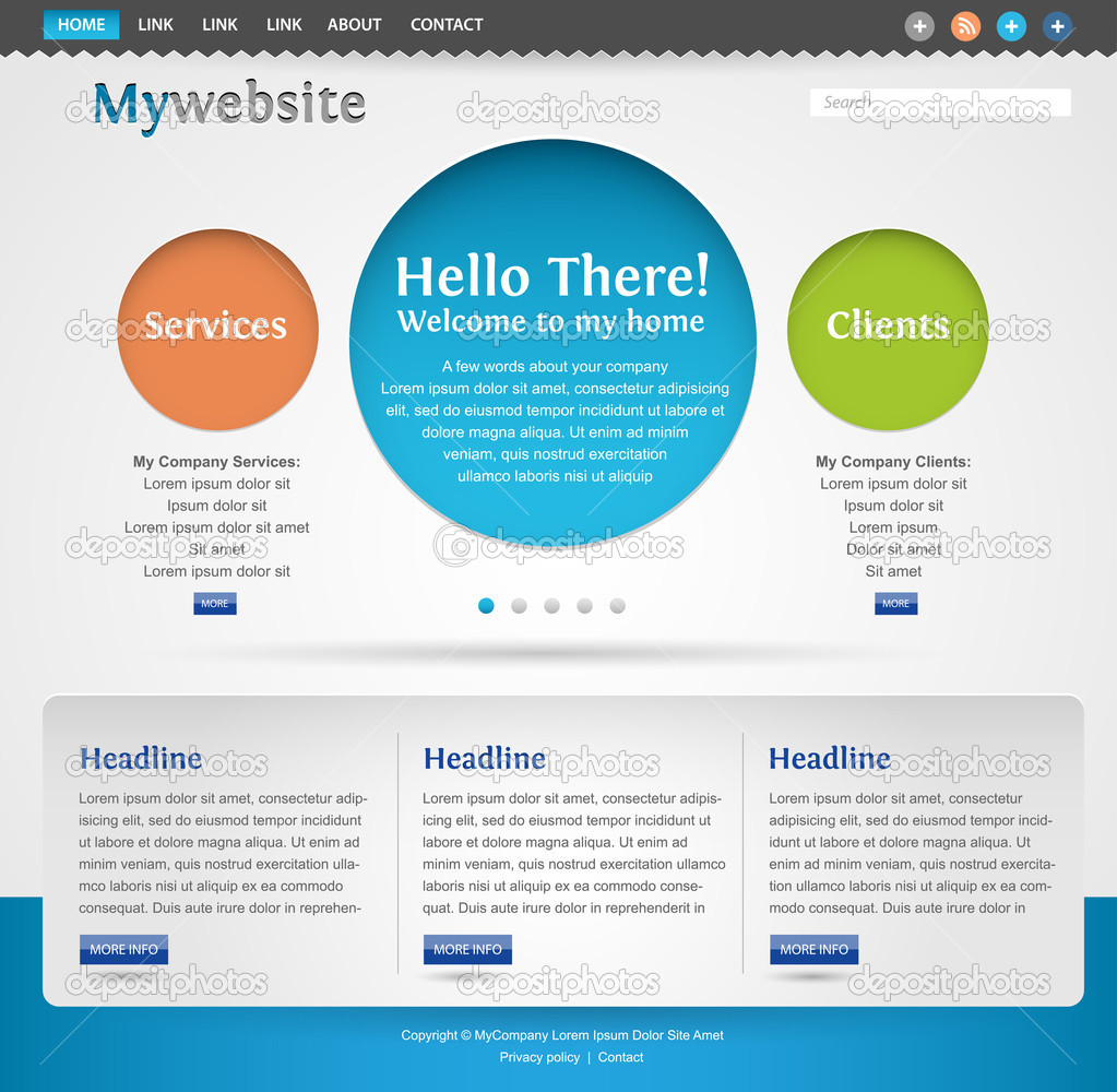 Modern creative website template design — Stock Vector ...