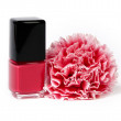 Stock Photo: Red nail polish with flower