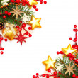 Border - Christmas background with red berry and gold stars - Foto de Stock