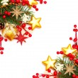 Border - Christmas background with red berry and gold stars — Stockfoto