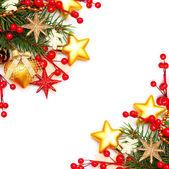 Confine - sfondo di Natale con bacca rossa e stelle d'oro — Foto Stock