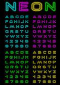 霓虹灯的颜色字体 — 图库矢量图片