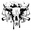 Skull bull and crossed axes — Stock Vector