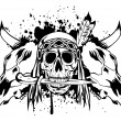 Stock Vector: Skulls bull and skull Indian