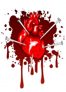 Heart pierced by nails
