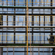 Windows and scaffold construction site — Stok fotoğraf