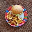 Stock Photo: Cheeseburger and fries