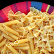 Plate with italian pasta variety — Stock Photo