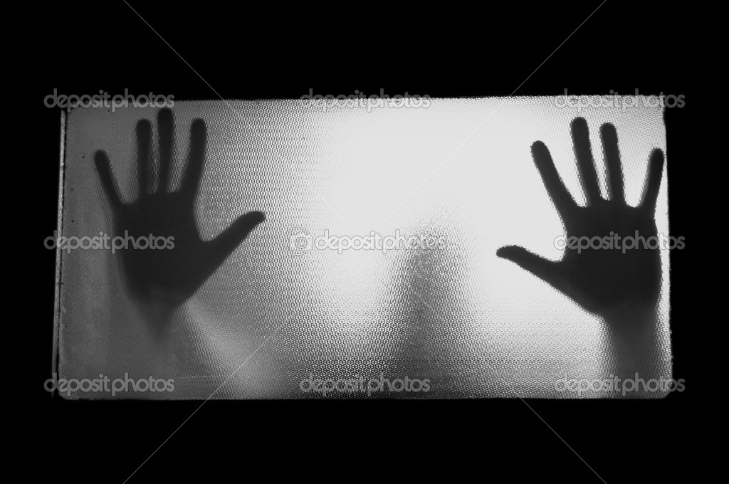 Spooky man behind glass. Hands and blurry human figure abstraction. — Stock Photo #12365305