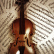 Old wood violin lying on musical notes — Stock Photo