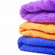 Three multi-colored towels — Stock Photo