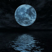 Big blue moon reflected in water surface — Stock Photo