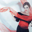 Stock Photo: Womin black dress with red sash on light background