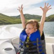 Постер, плакат: Travel of children on water in the boat