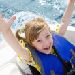 Travel of children on water in boat — Stock Photo #11614272