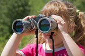 Child and nature. Environment supervision in the field-glass. — Stock Photo