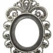 Old oval frame with silver leafs — Stock Photo