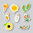 Icons on the summer theme - Stock Vector