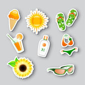 Icons on the summer theme — Vector de stock