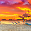 Boat at sunset — Stockfoto