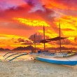 Boat at sunset — Stock Photo