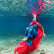 Woman underwater - Stock Photo