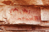 Fragment of rock with ancient paintings — Stock Photo