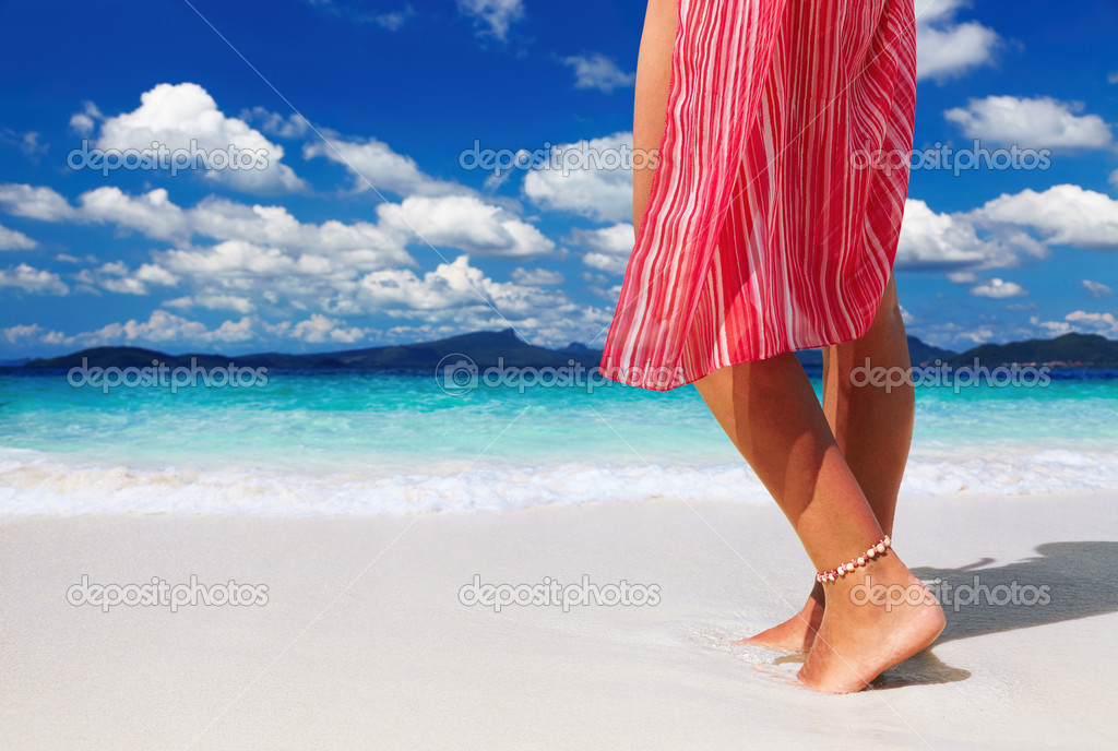 Tanned woman on the tropical beach, Andaman Sea, Thailand  Stock Photo #11377641