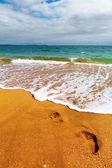 Footsteps on the sand — Stock Photo