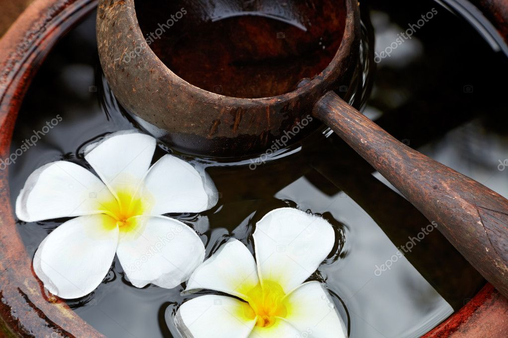 Water-filled ceramic pot with a wooden scoop and flowers — Stock Photo #11565393