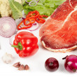 Meat and vegetable ingredients - Stock Photo