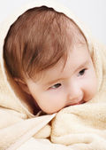 Baby wrapped the bath towel — Stock Photo