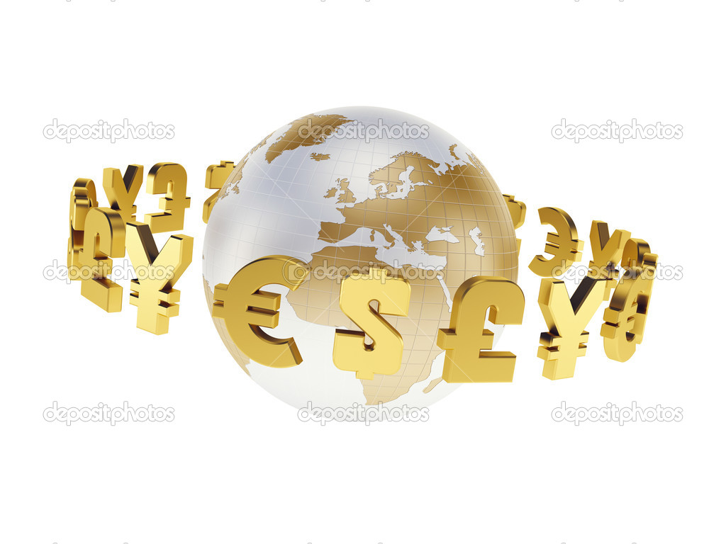 Main world currencies, isolated 3d render — Stock Photo #11442219