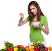 Woman with salad isolated on white — Stock Photo
