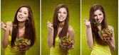 サラダを食べる女。トリプル画像 — ストック写真
